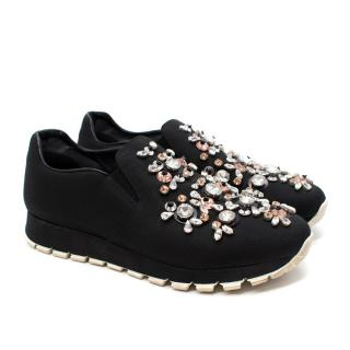Prada Catch Me If You Can Black Crystal Embellished Slip On Sneakers