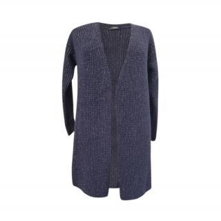 Weekend Max Mara navy ribbed knit open cardigan