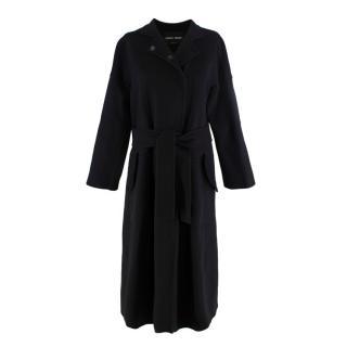Giorgio Armani Black Seamed Belted Cashmere Coat