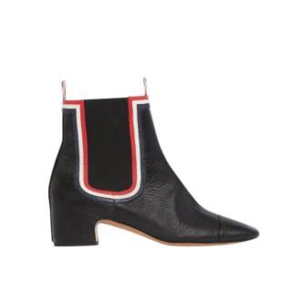 Thom Browne Black Pebbled RWB Framed Chelsea Boot