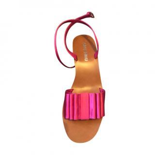 Miu Miu Pleated Satin Flat Sandals