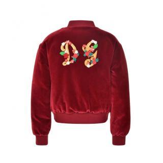Dolce & Gabbana Kids 6Y Embellished Velvet Bomber Jacket