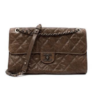 Chanel Mushroom Brown Distressed Glossy Caviar Leather Flap Bag