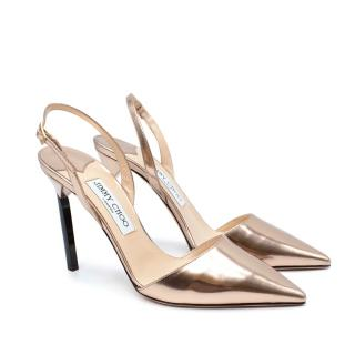 Jimmy Choo Pink Devout Mirrored-Leather Court Sandals
