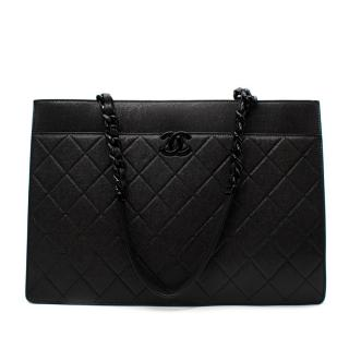 Chanel So Black Quilted Caviar Leather Large Shopping Bag