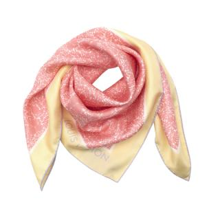Louis Vuitton Pale Yellow & Pink Tropical Flowers Silk Square Scarf