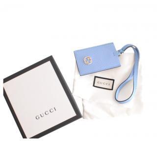 Gucci Blue Grained Leather Luggage Tag