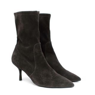 Stuart Weitzman Grey Yvonne Stretch-Suede Sock Boots