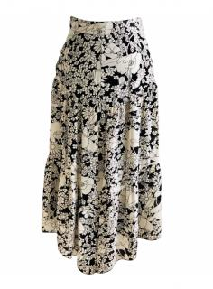 Saint Laurent Ivory & Black Floral Crepe Runway Skirt