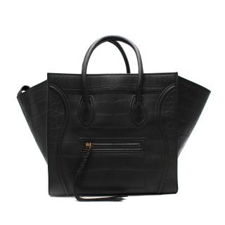 Celine Black Medium Croc-Embossed Phantom Bag