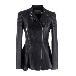 Dior Black Lambskin Leather Peplum Biker Jacket
