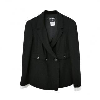 Chanel Black Wool Blend Jacket with Removable Contrast Cuffs