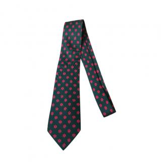 Hermes Green & Pink Rose Print Silk Tie