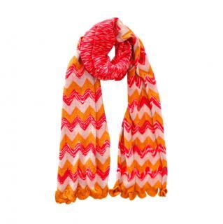 Missoni Pink & Orange Zig-Zag Knit Scarf