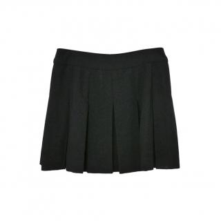 Chanel Black Wool Blend Plated Skirt
