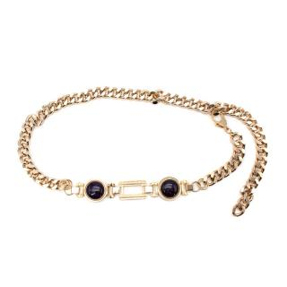 Alessandra Rich Chain Belt With Contrasting Purple Stones