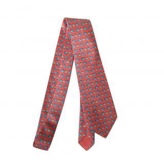 Hermes Red Snail & Cabbage Print Silk Tie