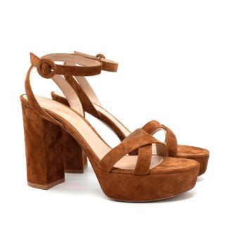 Gianvito Rossi Poppy 100 Tan Suede Platform Sandals
