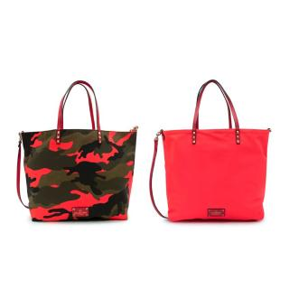 Valentino Camouflage/Neon Pink Canvas Reversible Shopping Bag