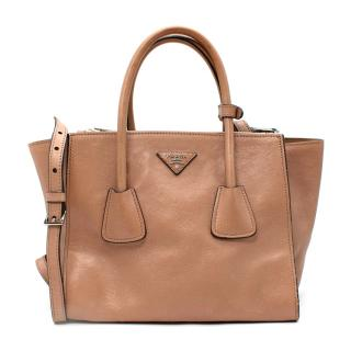 Prada Camel Glossy Leather Double Zip Tote Bag