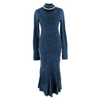 Alexander McQueen Blue & Black Knitted Maxi Dress with Crystal Collar