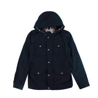Burberry Kids 14Y Navy Hooded Rain Jacket