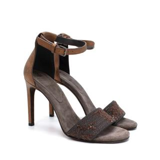 Brunello Cucinelli Embellished Monili Bead Strap Suede Sandals