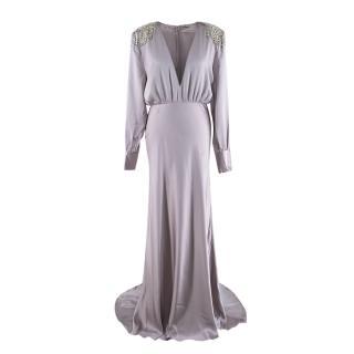 Alessandra Rich Crystal Embellished Lavender Silk Gown