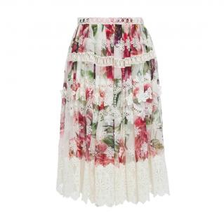 Dolce & Gabbana Floral Print Lace Georgette Skirt