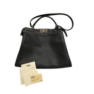 Fendi Selleria Black Roma Leather Peekaboo Bag