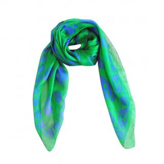Alexander McQueen Green Skull Print Silk Scarf