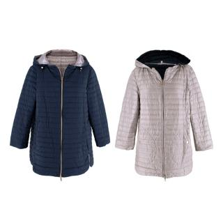 Herno Pearl & Navy Reversible Hooded Quilted Puffer Jacket