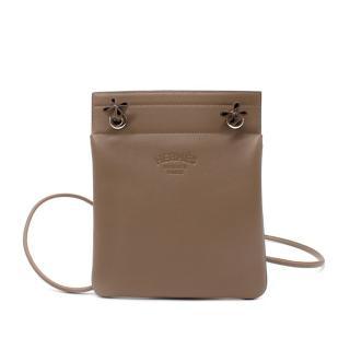 Hermes Aline Etoupe Veau Cheri PHW Mini Pouch Bag