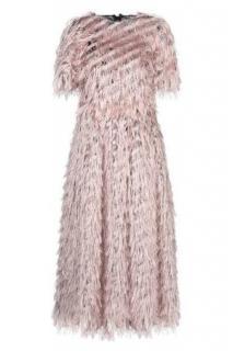Dolce & Gabbana Blush Fil Coupe Metallic Midi Dress