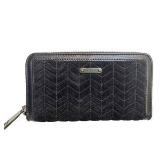 Burberry Black Suede & Leather Zip-Around Wallet