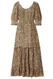 Rixo Kiara Ruffled Floral Print Silk Maxi dress
