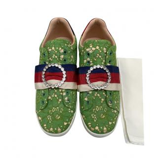 Gucci Green Lace Crystal Web Ace Sneakers