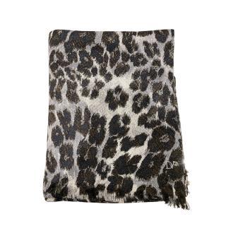 DVF Grey Leopard Print Large Scarf