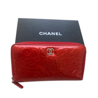 Chanel Red Patent Zip-Around Camellia Wallet