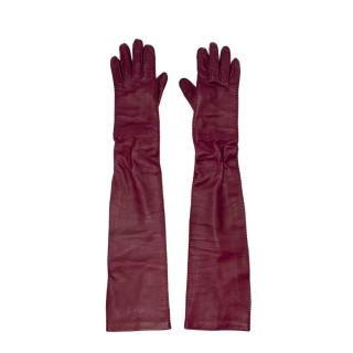 Prada Cerise Buttery Nappa Leather Long Gloves - Size 6.5