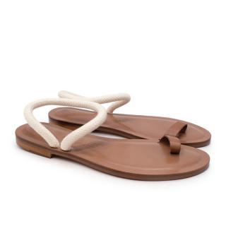 Alvaro Gonzalez Angela Rope-Strap Leather Sandals in White