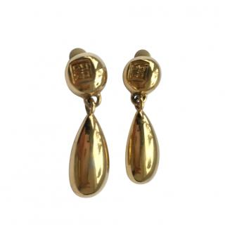 Givenchy Gold Tone 4G Drop Earrings