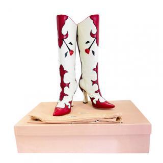 Miu Miu 3D Rose Embroidered Runway Boots