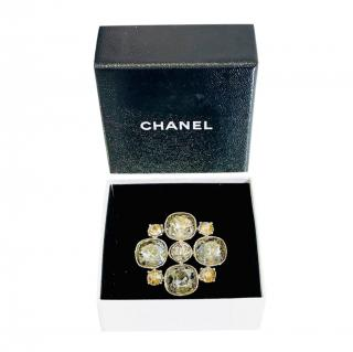Chanel Clear/Yellow 4cm Crystal Brooch
