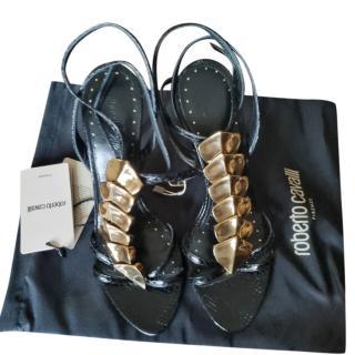 Roberto Cavalli Black & Gold Podium Sandals