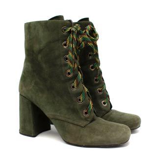 Prada Military Green Suede Lace-Up Ankle Boots