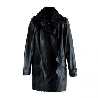 Chanel Black Tweed panelled Leather Biker Coat