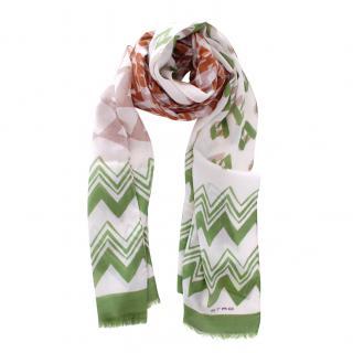 Etro Wool & Silk Green Printed Scarf