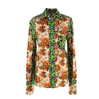 Kwaidan Editions Orange & Green Floral Buttoned Viscose Shirt