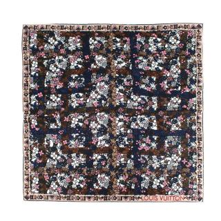 ouis Vuitton Navy & Beige Floral Print Twill Silk Square Scarf